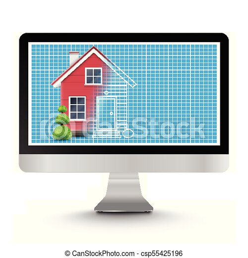 Realistic house with a blueprint on a computer vector eps vectors realistic house with a blueprint on a computer vector malvernweather Images