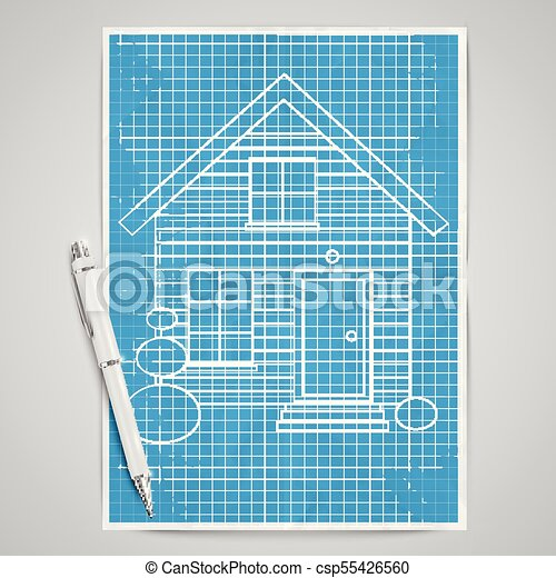 Realistic house with a blueprint vector clip art vector search realistic house with a blueprint vector malvernweather Choice Image