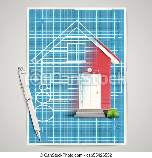 Realistic house with a blueprint vector clipart vector search realistic house with a blueprint vector malvernweather Image collections