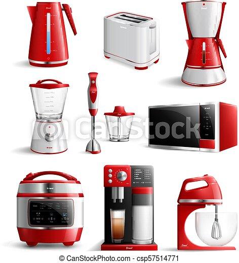 Realistic Household Kitchen Appliances Icon Set