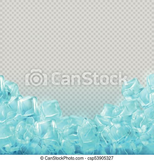 Realistic Ice Cubes Isolated On Transparent Background Vector Food
