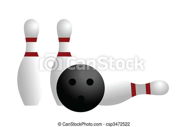 Realistic illustration ball and pin of bowling - csp3472522