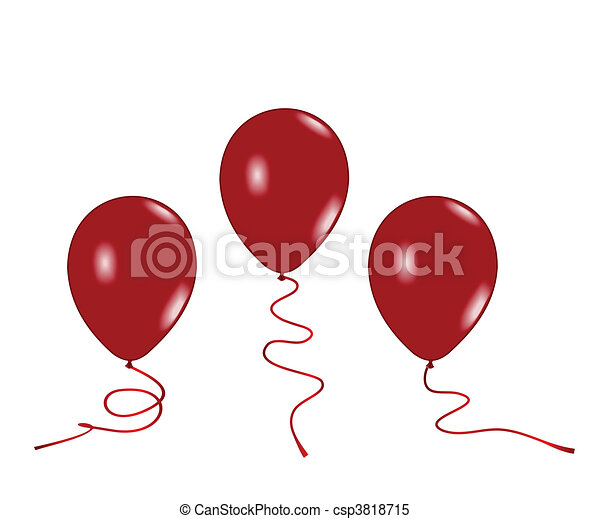 Realistic illustration of three red balloons - csp3818715