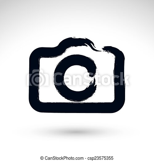 Realistic Ink Hand Drawn Vector Digital Camera Icon Simple