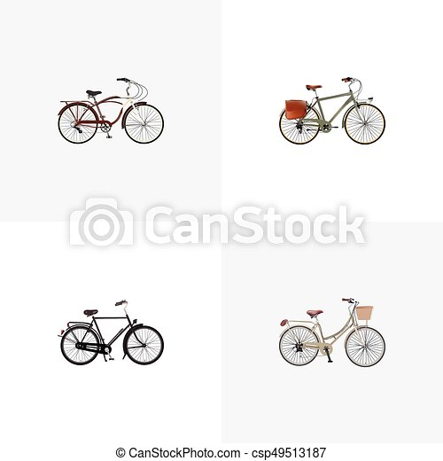 Realistic Journey Bike Brand Working Vector Elements Set Of Bike