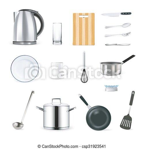 Realistic Kitchen Utensils Icons Set Realistic Kitchen Utensils