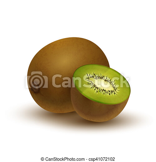 Realistic kiwi, glossy icon with shadow isolated on white - csp41072102