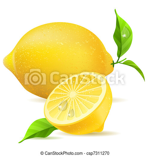 Realistic lemon and half with leaves - csp7311270