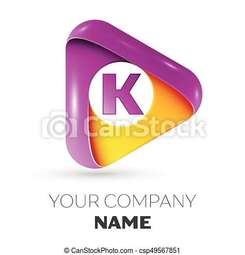 Realistic Letter K Vector Logo Symbol In The Colorful Triangle On White Background Vector Template For Your Design Canstock