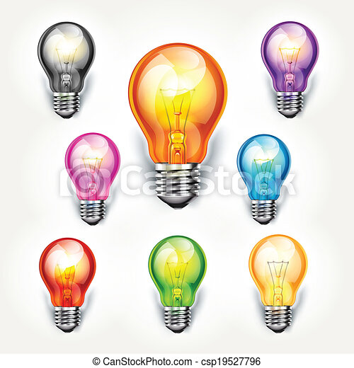 Realistic Light Bulb Color Set Vector Illustration Canstock