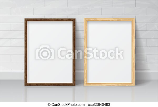 Realistic light wood and dark wood blank picture frame, standing on ...