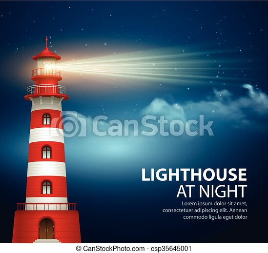 Realistic lighthouse in the night sky background  Vector illustration