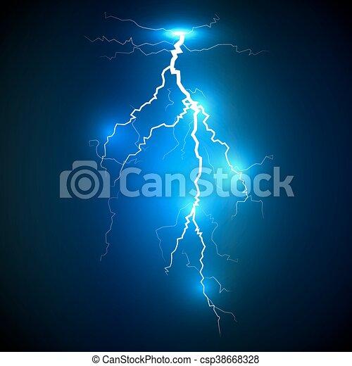 Realistic Lightning On Blue Background Realistic White Lightning Strike Surrounded With Shining Blue Lights On Blue