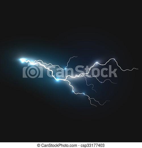 Realistic Lightning Symbol On Black Background Natural Effects