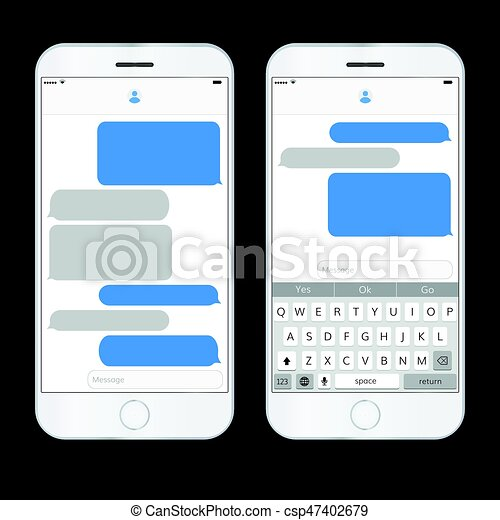 Realistic mobile phone with messaging interface   Space for text and dialog
