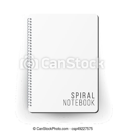 Realistic note template blank. spiral and paper. clean mock up for ...
