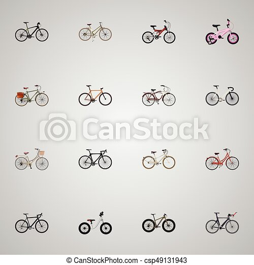 Realistic Old Journey Bike Brand Vector Elements Set Of Bike