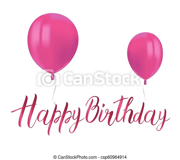 Realistic Pink Balloons With Reflects And Inscription Happy Birthday On Transparent Background