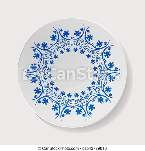 Realistic plate vector. closeup porcelain tableware... vector clip ...