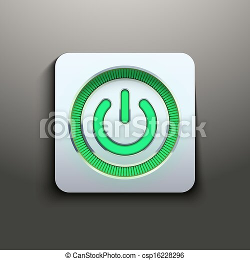 Realistic power button with green light - csp16228296