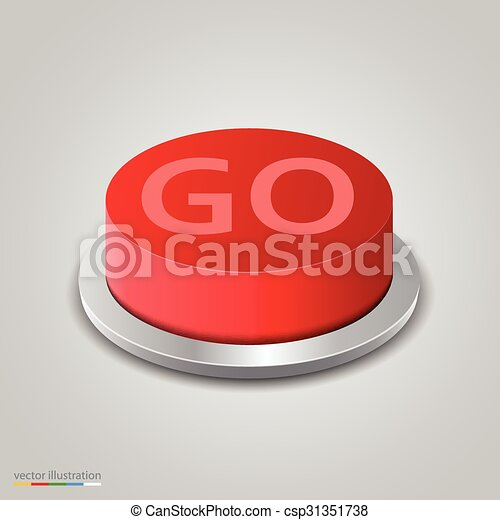 Realistic red go button on white background - csp31351738