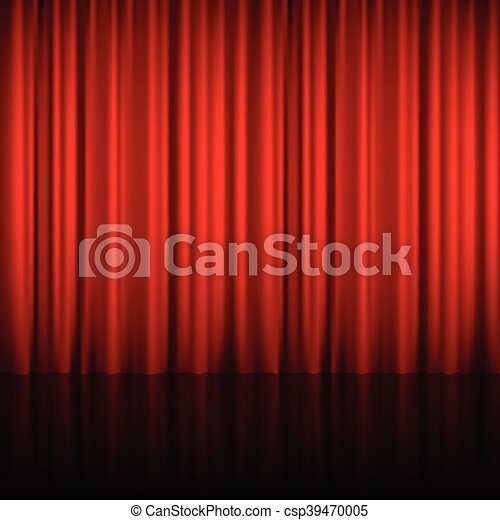 Realistic Red Theatrical Closed Curtain - csp39470005