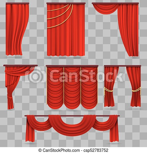 Realistic Red Velvet Stage Curtains Scarlet Theatre Drapery Isolated On Transparent Background