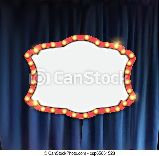 Realistic retro cinema announcement board with bulb frame on curtains background. Vector Illustration - csp65661523