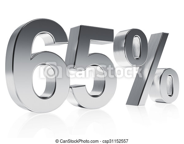 Realistic Silver Rendering Of A Symbol For 65 Discount Or Stock
