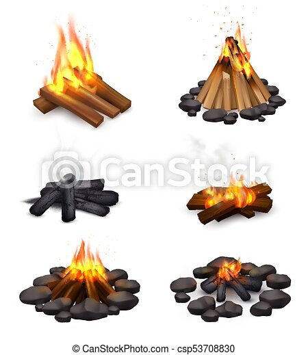 Realistic Steaming Campfire Collection