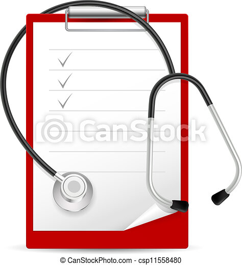 Realistic stethoscope and notes - csp11558480