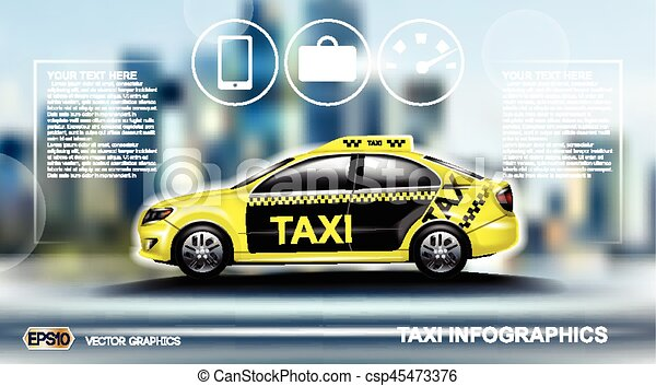 Realistic Taxi car Infographic  Urban city background  Online Cab Mobile  App, Cab Booking, Map Navigation e-commerce business concept  Digital Vector