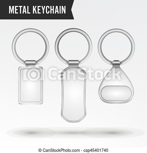 Realistic template metal keychain vector set 3d key chain eps realistic template metal keychain vector set 3d key chain with ring for key isolated on white pronofoot35fo Images