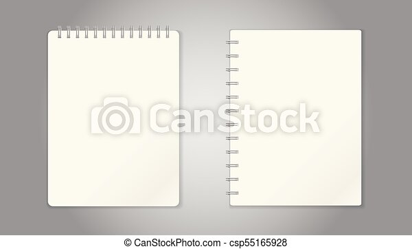 realistic template notepad with spiral blank cover design school