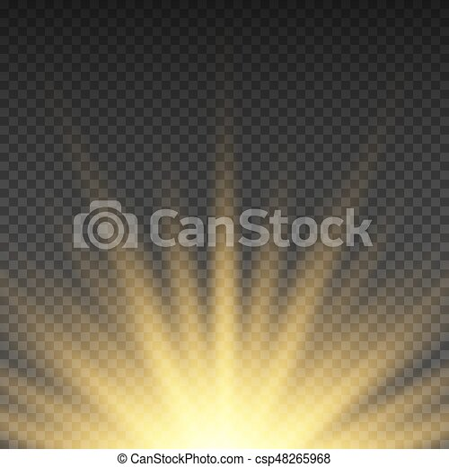 Realistic transparent yellow sun rays, warm orange flare effect isolated on checkered background. Sunshine from star, sunbeam bright illustration - csp48265968