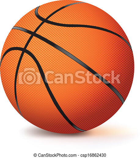 Realistic Vector Basketball Isolated On White. A Vector Basketball Isolated On A White ...