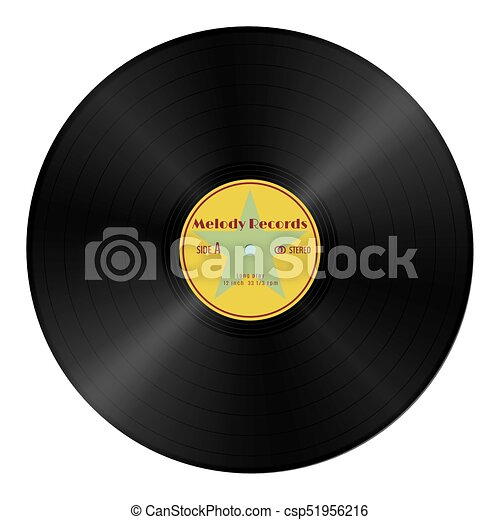 realistic vector gramophone vinyl record in retro style with yellow label vintage audio plastic disk isolated on a white https www canstockphoto com realistic vector gramophone vinyl record 51956216 html