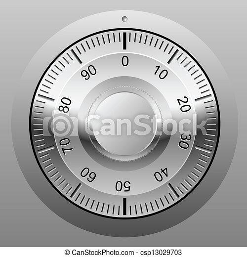 Realistic vector illustration of safe combination lock wheel. - csp13029703