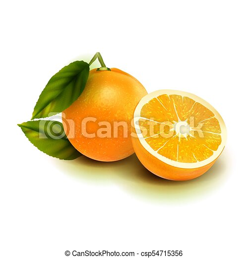 Realistic vector orange fruit isolate. Orange with leaves isolated on white. - csp54715356