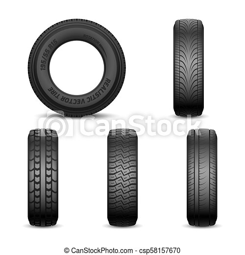 Realistic vector tires with different tread marks - csp58157670