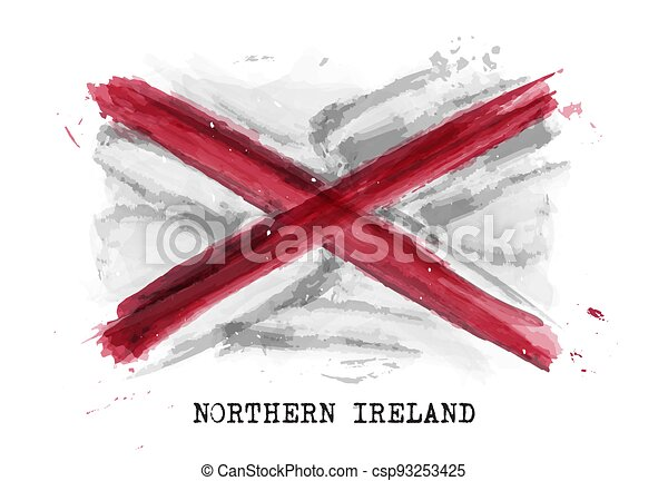 Realistic watercolor painting flag of Northern ireland . Vector . - csp93253425