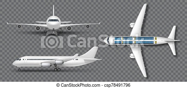 Realistic White Airplane Airliner Isolated Airplane In Profile