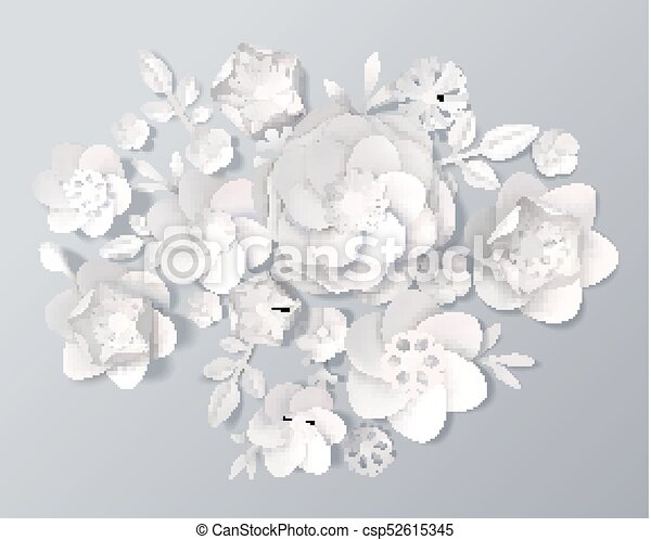 Realistic white paper flowers set set of realistic white paper realistic white paper flowers set csp52615345 mightylinksfo