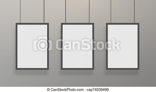 Realistic White Poster Mockup With Black Frame Blank Empty