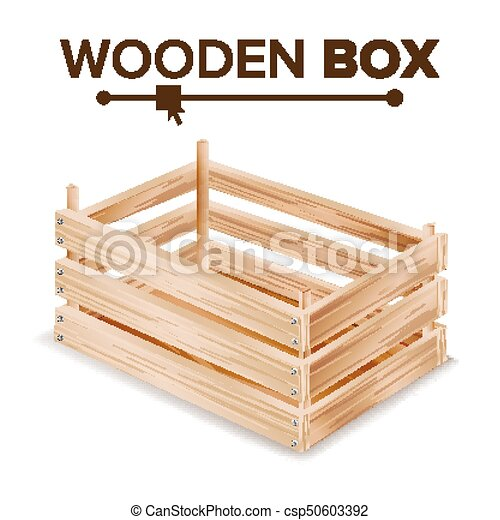 Realistic Wooden Box Vector For Transportation And Storage Products Empty Fruits