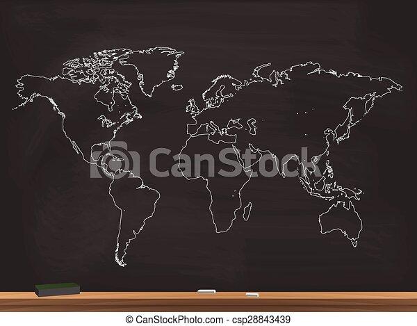 Realistic world map illustration realistic world map chalkboard realistic world map illustration gumiabroncs Choice Image