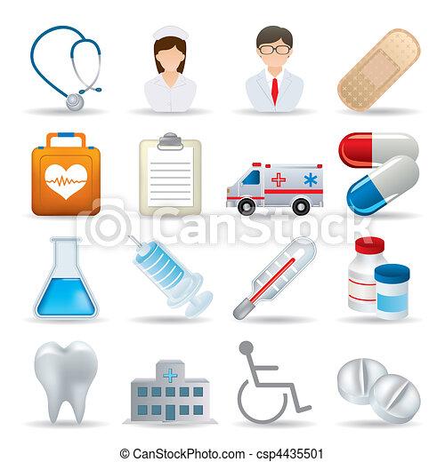 realistico, medico, set, icone - csp4435501