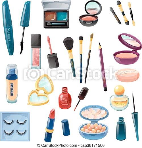 realistico, signore, set, cosmetica, trucco - csp38171506