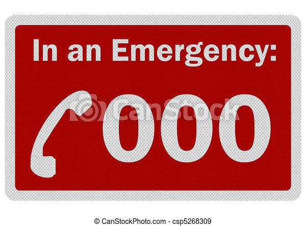 """Foto realistisches Schild """"Emergency 000"""", isoliert auf weiß - csp5268309"""