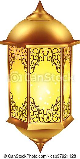 realistisch, lamp, ramadan, pictogram - csp37921128